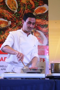 Chef David at the Paella Negra corner.