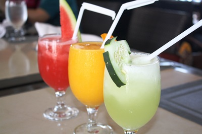 Fresh fruit shakes and juices.