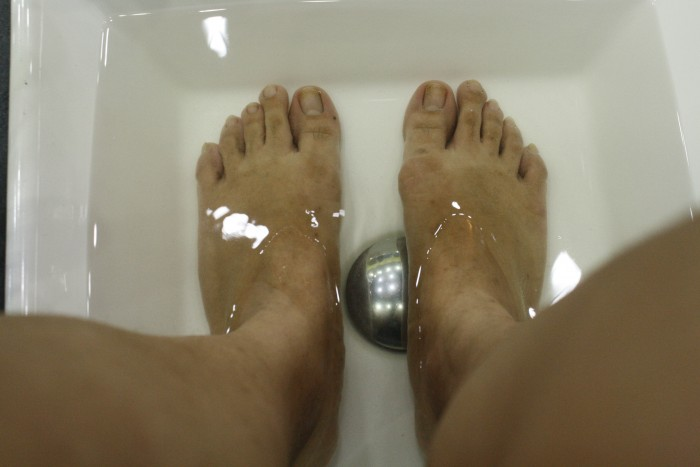 Before the pampering: my feet soaked in warm water.